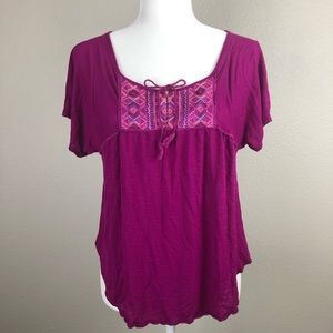 American Eagle Purple Short Sleeve Keyhole Blouse
